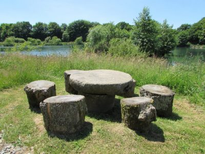 Rustic Seating Area at L'Angottiere carp fishery offering exclusive carp fishing in france