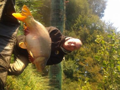 34lb Mirror Carp caught from The Point at L'Angottiere Carp Fishery, Normandy, France.