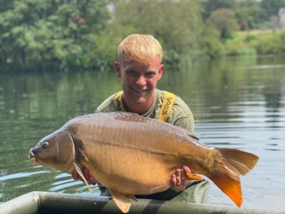 large mirror carp from L'Angottiere carp fishery in normandy